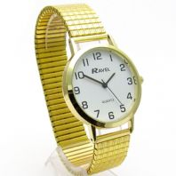 Ravel Men's Super-Clear Quartz Watch with Expanding Bracelet Gold 25 R0201.02.1